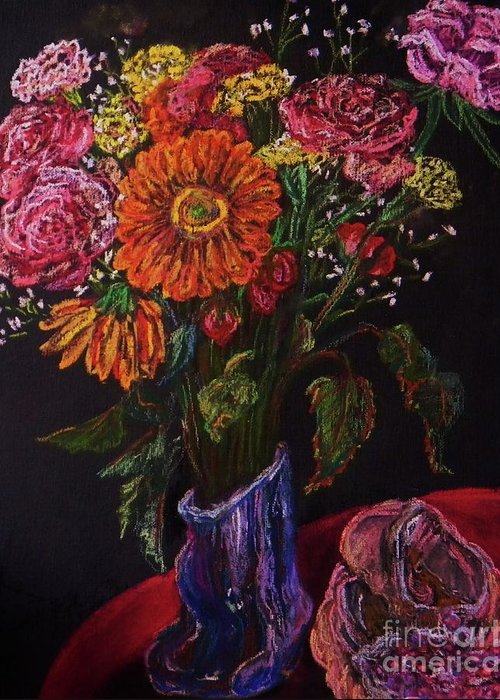 Flowers Greeting Card featuring the pastel Recital Bouquet by Emily Michaud