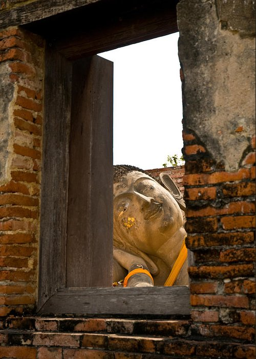 Ancient Greeting Card featuring the photograph Reclining Buddha View Through A Window by Ulrich Schade