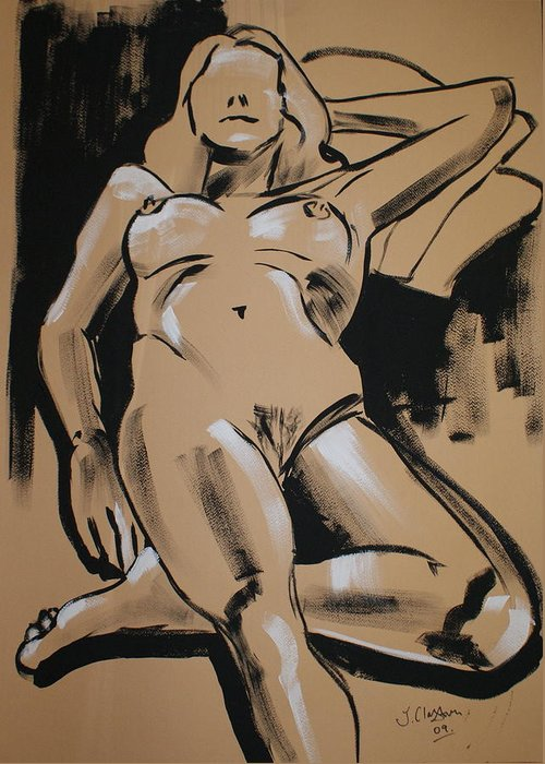 Nudes Greeting Card featuring the painting Reclining Female 1 by Joanne Claxton