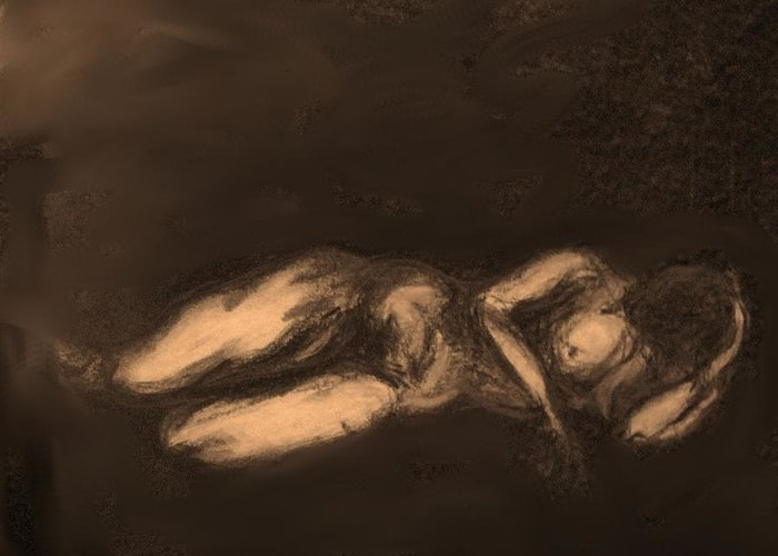 Nude Greeting Card featuring the drawing Reclining by Ian MacDonald