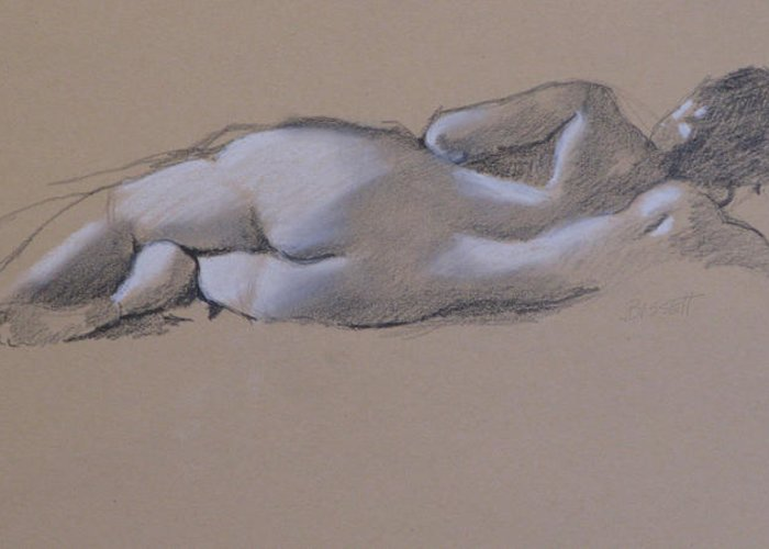 Drawing Greeting Card featuring the drawing Reclining Nude 1 by Robert Bissett