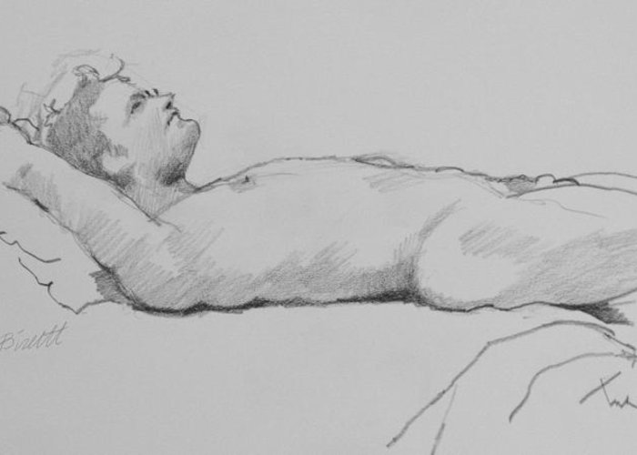 Life Greeting Card featuring the drawing Reclining Nude 3 by Robert Bissett