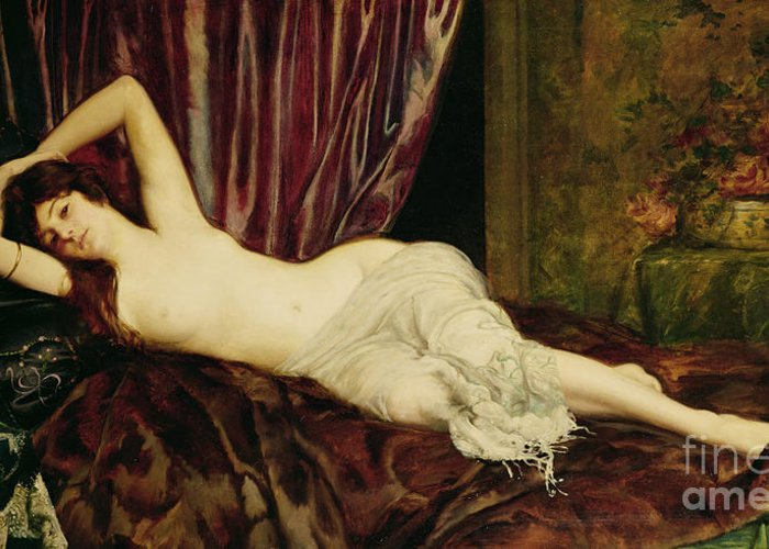 Reclining Greeting Card featuring the painting Reclining Nude by Henri Fantin Latour