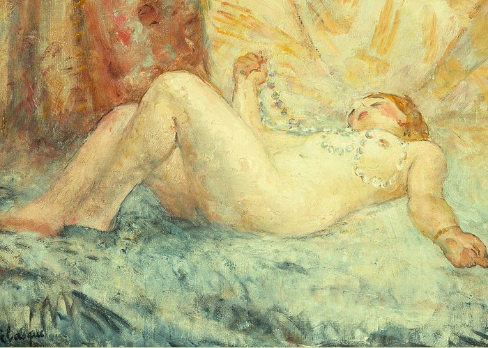 Nude Greeting Card featuring the painting Reclining Nude by Henri Lebasque