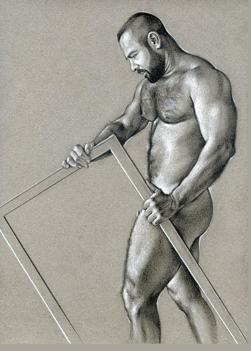 Male Greeting Card featuring the drawing Rectangle 2 by Chris Lopez