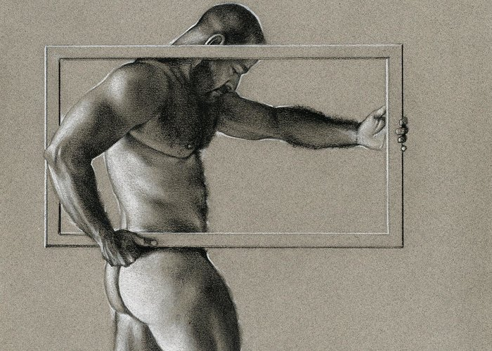 Male Greeting Card featuring the drawing Rectangle by Chris Lopez