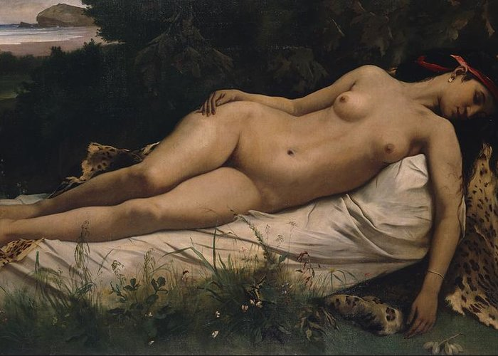 Recumbent Greeting Card featuring the painting Recumbent Nymph by Anselm Feuerbach