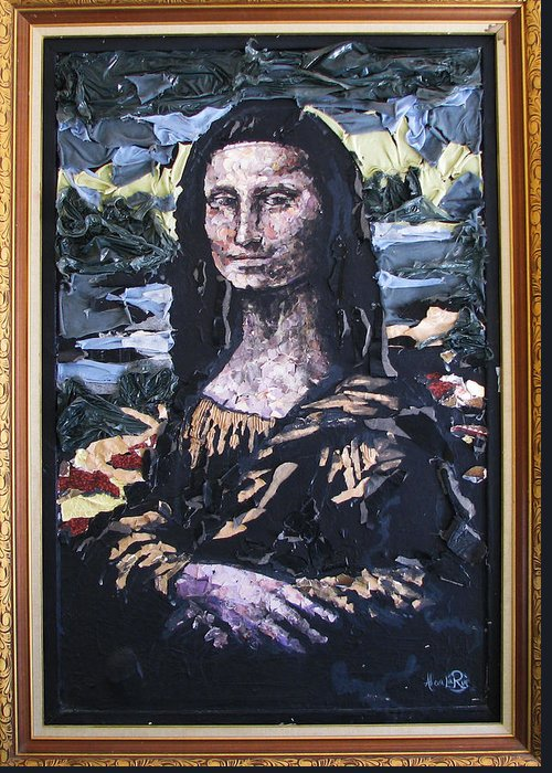 Mona Lisa Greeting Card featuring the mixed media Recycled Mona by Alicia LaRue