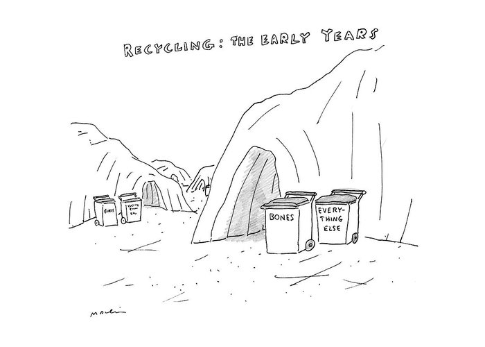 Recycling: The Early Years Greeting Card featuring the drawing Recycling The Early Years by Michael Maslin