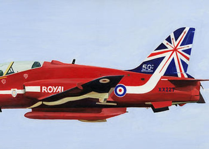 Red Arrows Greeting Card featuring the painting Red 6 - Xx227 by Paul Rowland