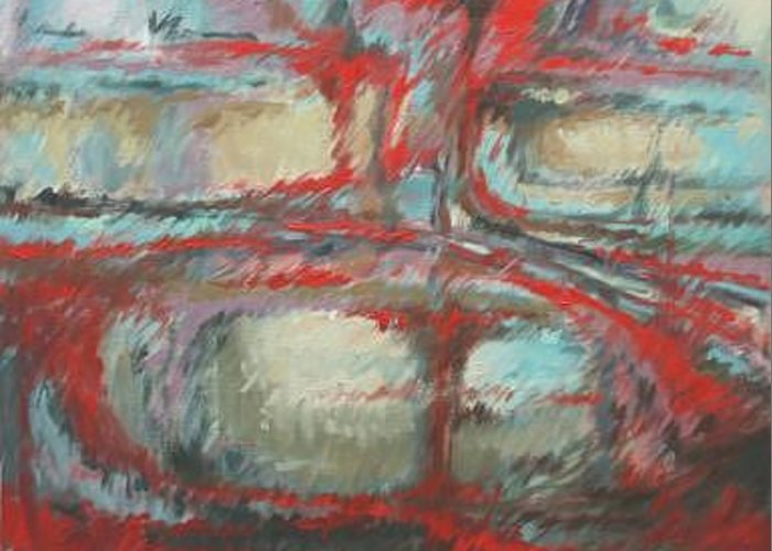Abstract Greeting Card featuring the painting Red Abstract by Linda Eades Blackburn