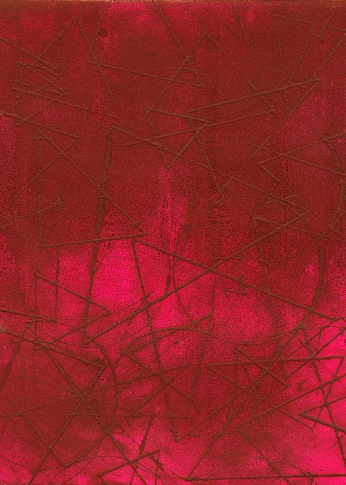 Intaglio Greeting Card featuring the photograph Red Abstract Shapes by Rockstar Artworks