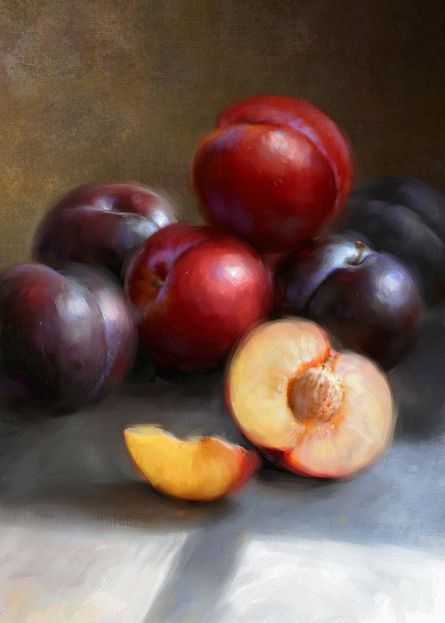Plums Greeting Card featuring the painting Red And Black Plums by Robert Papp