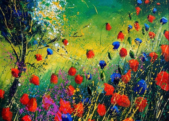 Flowers Greeting Card featuring the painting Red And Blue Poppies by Pol Ledent