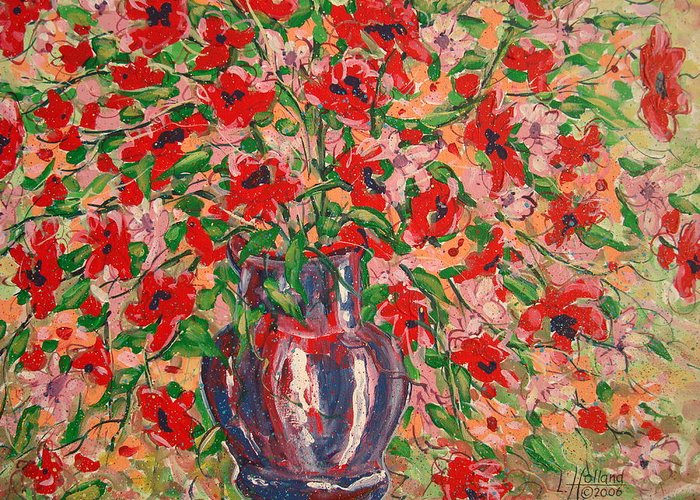Flowers Greeting Card featuring the painting Red And Pink Poppies. by Leonard Holland