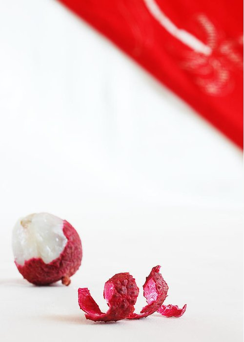 Lychee Greeting Card featuring the photograph Red And White by Evia Nugrahani Koos