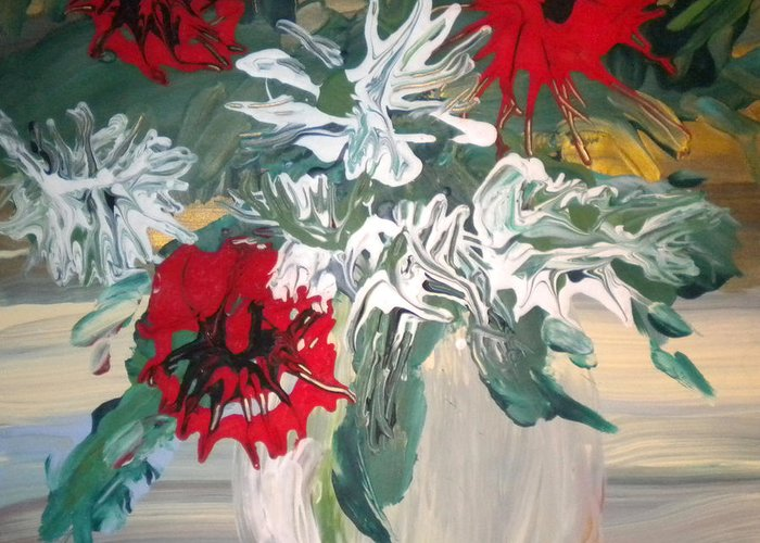 Alzheimer's Greeting Card featuring the painting Red And White Flowers By Ralph by Art Without Boundaries