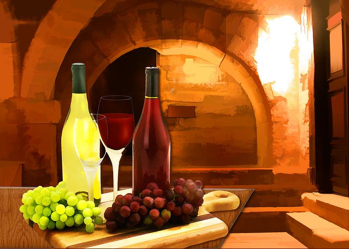 Wine Greeting Card featuring the painting Red And White In The Cellar by Elaine Plesser