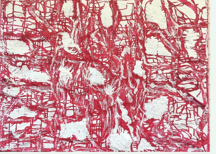 Abstract Greeting Card featuring the painting Red And White by Moises Brador
