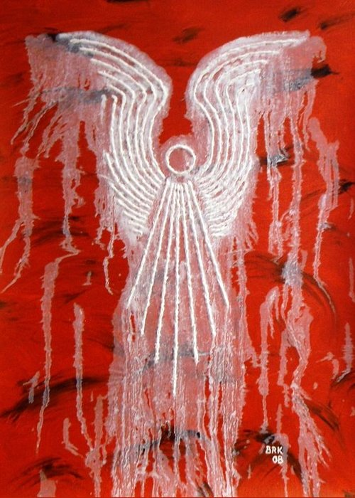 Angel Greeting Card featuring the painting Red Angel by Bo Klinge