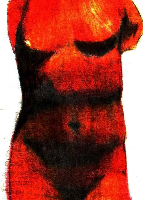 Red Greeting Card featuring the drawing Red Aphrodite by Jennifer Ott