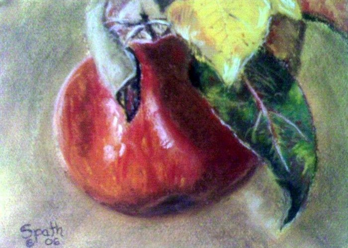 Fruit Greeting Card featuring the painting Red Apple by Jack Spath