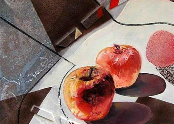 Greeting Card featuring the painting Red Apples On A Flat Vase by Evguenia Men