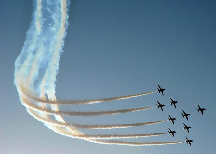 Red Arrows Greeting Card featuring the photograph Red Arrows - 1 by Graham Taylor