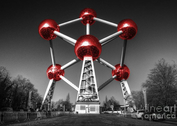 Atomium Greeting Card featuring the photograph Red Atomium by Rob Hawkins