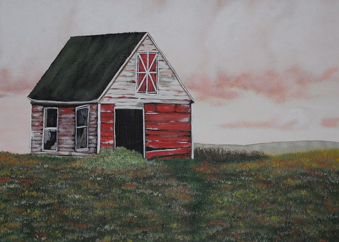Barn Greeting Card featuring the painting Red Barn by Candace Shockley