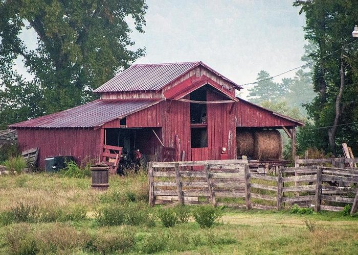 Red Greeting Card featuring the photograph Red Barn by George Elliott
