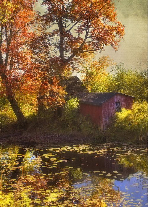 Red Barn Greeting Card featuring the photograph Red Barn In Autumn by Joann Vitali