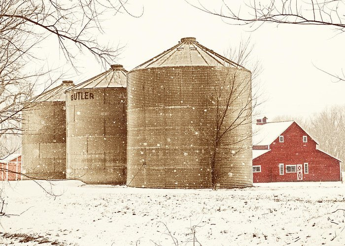 Americana Greeting Card featuring the photograph Red Barn In Snow by Marilyn Hunt