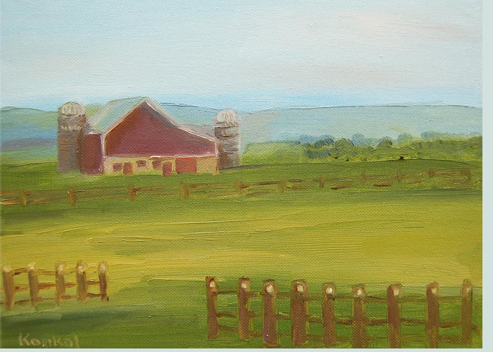 Konkol Greeting Card featuring the painting Red Barn by Lisa Konkol