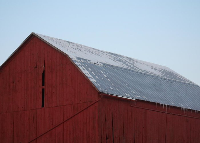 Barn Greeting Card featuring the photograph Red Barn On A Brisk Winter Day by Magi Yarbrough