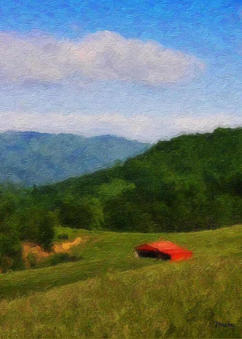 Virginia Greeting Card featuring the painting Red Barn On The Mountain by Teresa Mucha