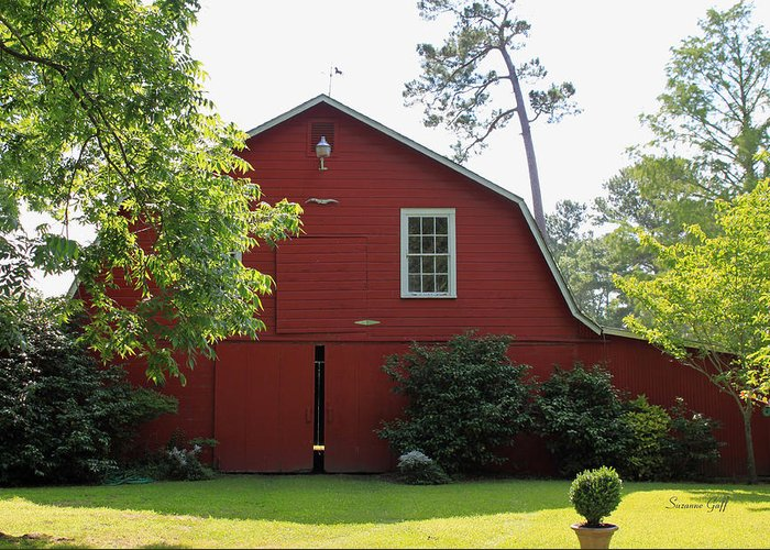 Red Barn Greeting Card featuring the photograph Red Barn by Suzanne Gaff