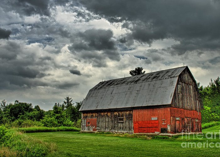 Red Greeting Card featuring the photograph Red Barn by Tim Wilson