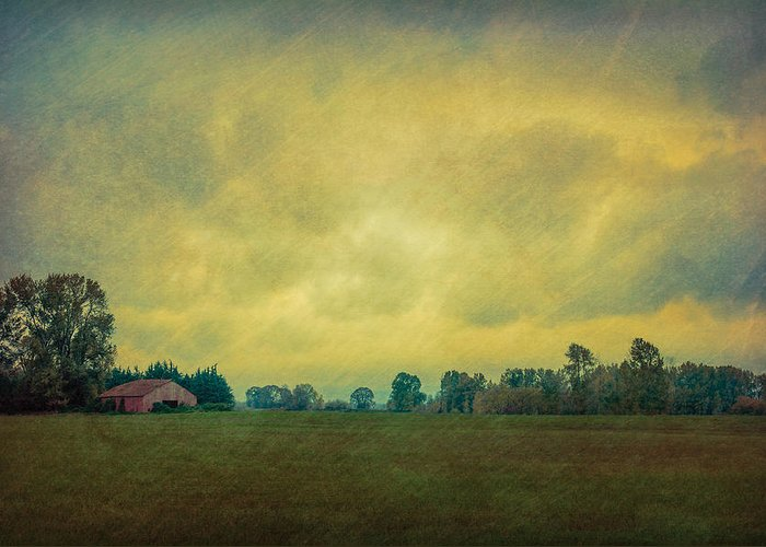 Barn Greeting Card featuring the photograph Red Barn Under Stormy Skies by Don Schwartz