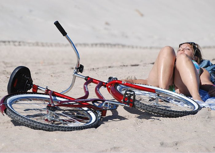 Red Greeting Card featuring the photograph Red Bike On The Beach by Rob Hans