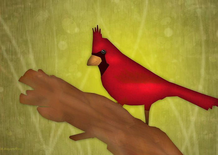 Cardinal Greeting Card featuring the digital art Red Bird by Melisa Meyers