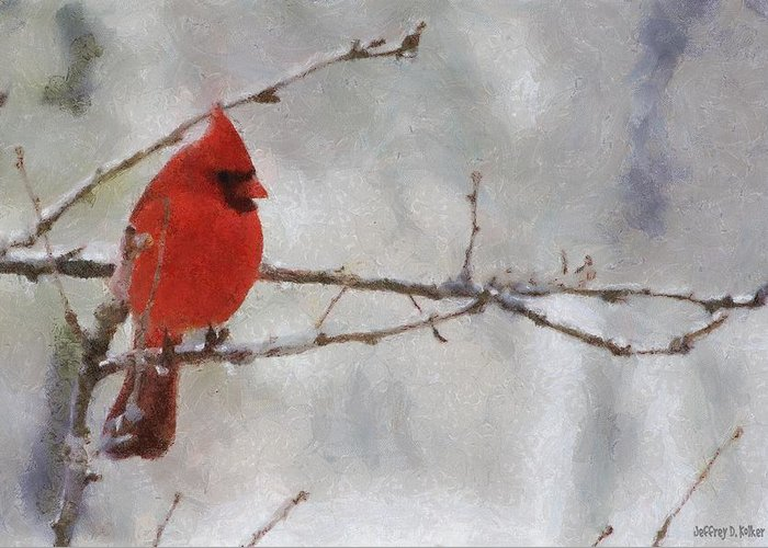 Bird Greeting Card featuring the painting Red Bird Of Winter by Jeff Kolker