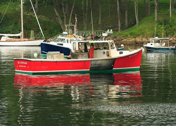 Seascape Greeting Card featuring the photograph Red Boat by Doug Mills
