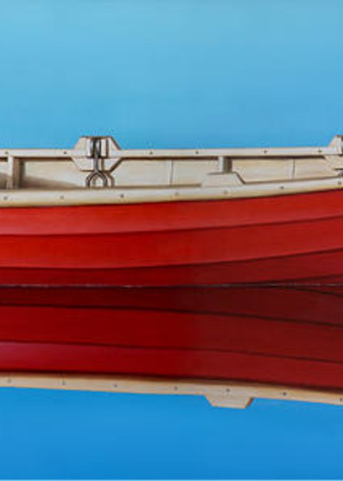 Red Greeting Card featuring the painting Red Boat by Horacio Cardozo