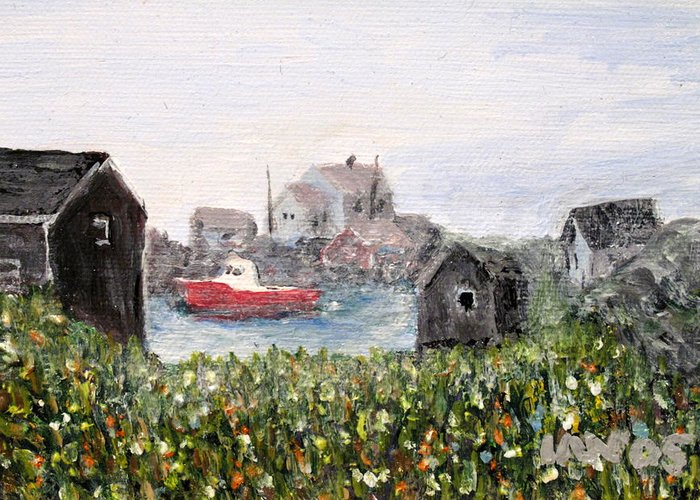Red Boat Greeting Card featuring the painting Red Boat In Peggys Cove Nova Scotia by Ian MacDonald