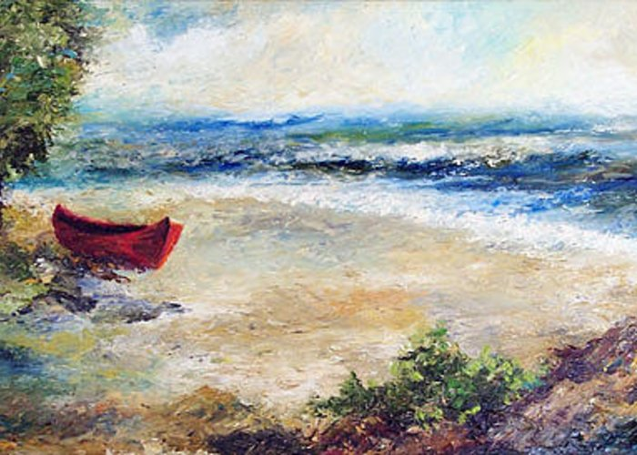 Seascape Greeting Card featuring the painting Red Boat by Laura Swink
