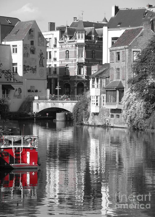 Boat Greeting Card featuring the photograph Red Boat On Water by Jeff White