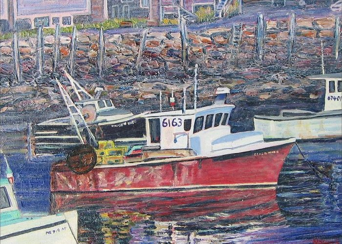 Boat Greeting Card featuring the painting Red Boat Reflections by Richard Nowak