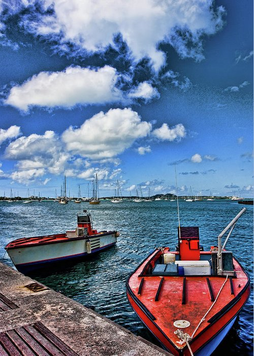 St Maarten Greeting Card featuring the photograph Red Boats At Blue Pier by Darryl Brooks