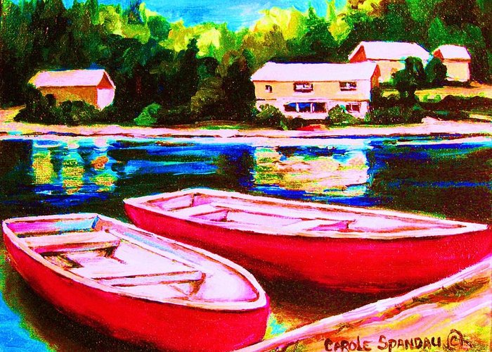 Red Boats Greeting Card featuring the painting Red Boats At The Lake by Carole Spandau